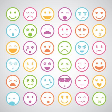 man face: smiley gezichten iconen cartoon set Stock Illustratie