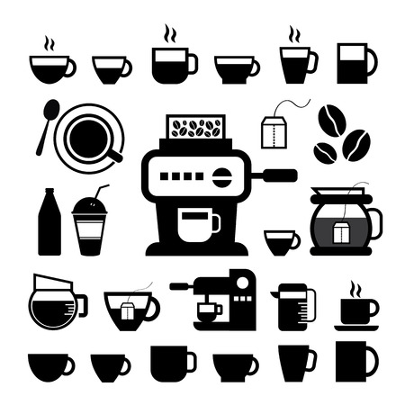 cup and coffee vector icon set  Vector