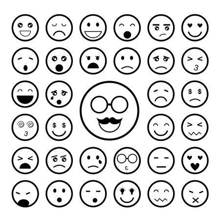 laugh emoticon: faces emoticon icons cartoon set   Illustration