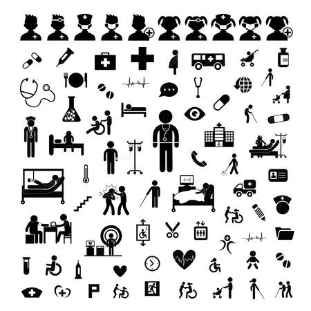 doctors and patient: Icono del doctor y el hospital en el fondo blanco