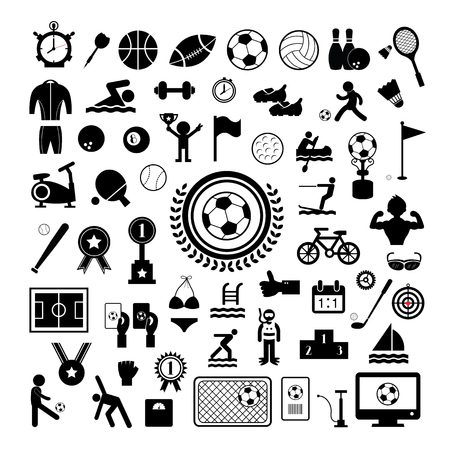 game of pool: sports icons set on white background