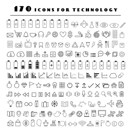 line technology vector icon set   Vector