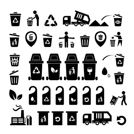 Garbage icons set  on white  background  Vector