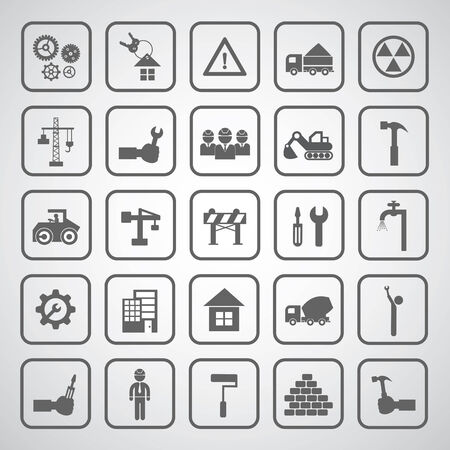 Construction icons set on gray background  Vector