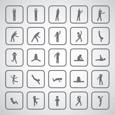 body exercise stick figure icon on gray background