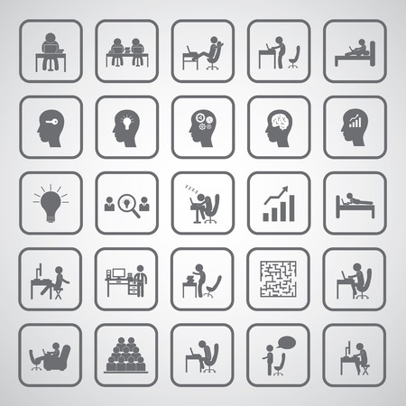 sit down: business man icon using computer symbol