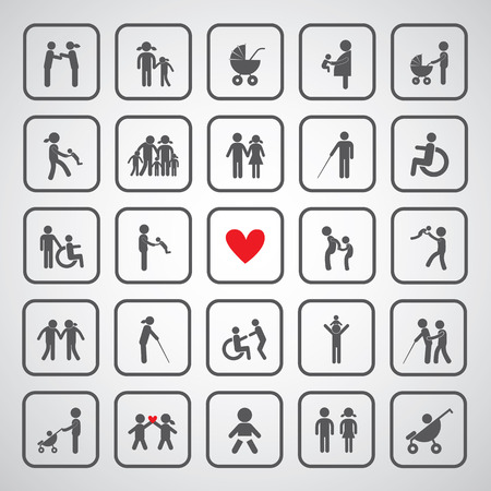 happy family icon on gray background  矢量图像