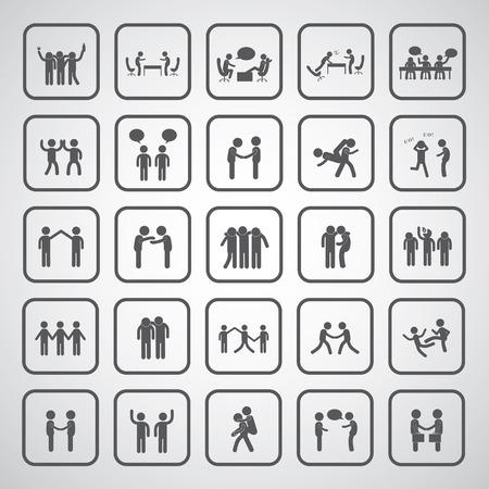 friendship symbol set on gray background