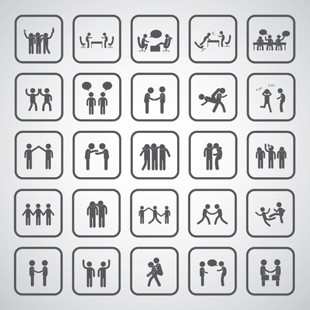 friendship symbol set on gray background  Vector