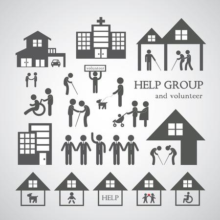 회색 배경에 비영리 사회 서비스 기호 자원 봉사