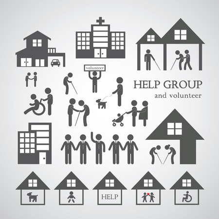 old home: volunteer for non profit social service symbol on gray background  Illustration