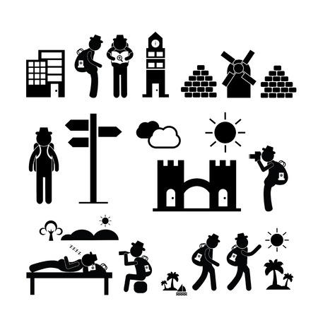 traveller: backpack traveler explorer icon on white background  Illustration