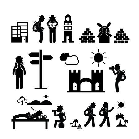 adventurer: backpack traveler explorer icon on white background  Illustration