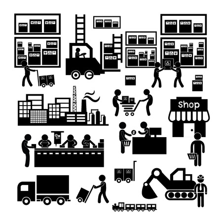 manufacturer and distributor icon for business system   Illustration