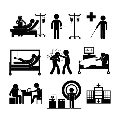 assessment: checkup medical in hospital vector symbol cartoon