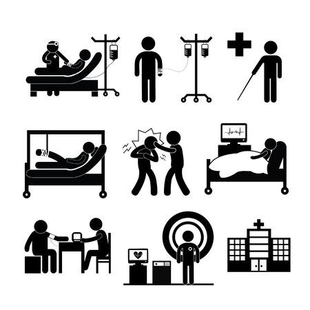 patient: checkup medische in het ziekenhuis vectorsymbool cartoon Stock Illustratie