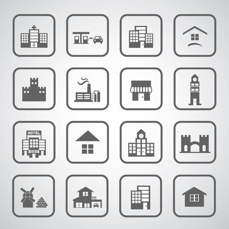 headquarter: buildings icon on gray background
