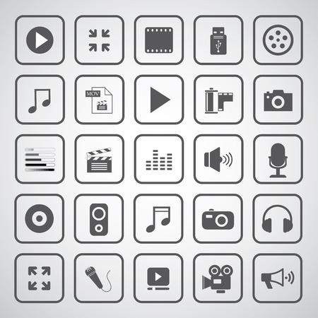 media entertainment icon on gray background 免版税图像 - 29036259