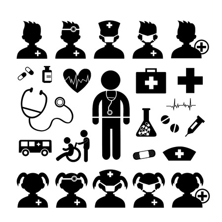 first aid box: Doctor icon and hospital on white background