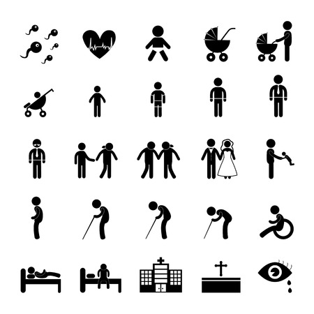 life and death: vector basic icon set for human life