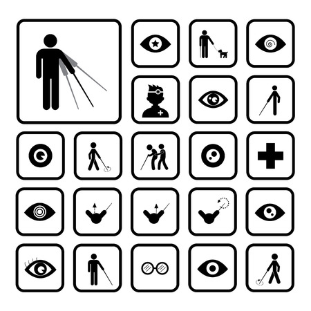 Blind man icon set on white background  Vector