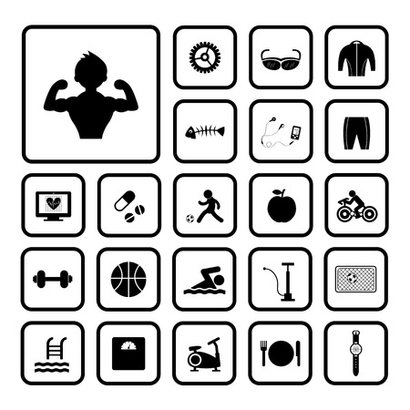 biking glove: Sports and healthy icons set on white background