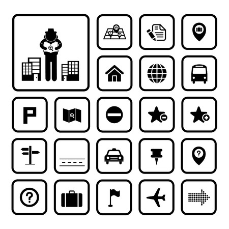 map and location icons  on white background  Vector