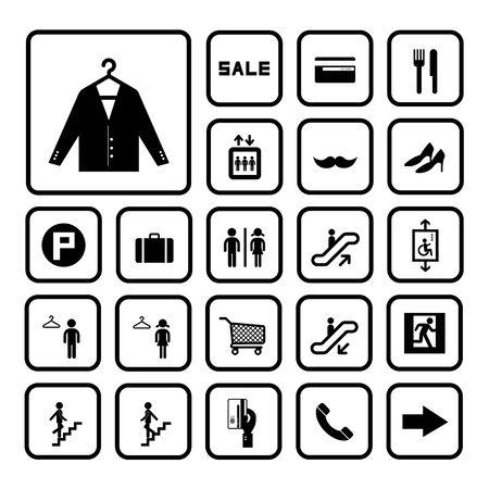 public market sign: shopping mall icons set on white background