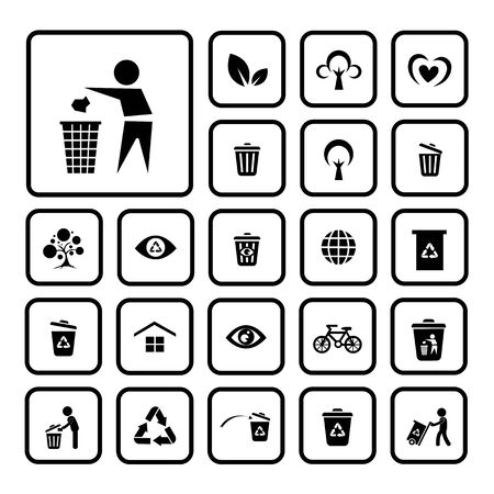 environment icon set on white background  Vector