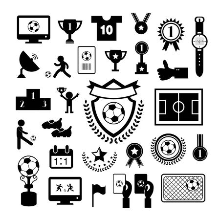 premier league: football  icon set on gray background