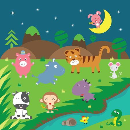cute vector animals in forest   Vector