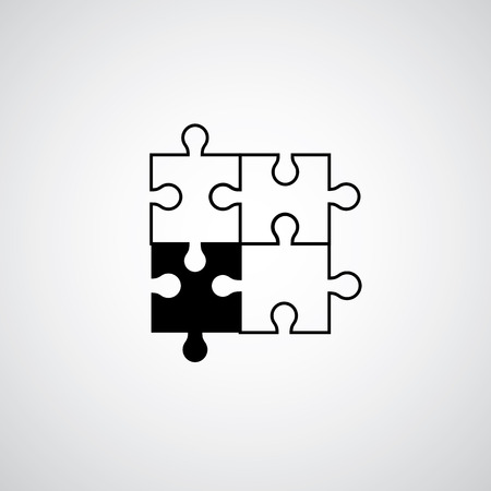 construction team: Jigsaw puzzle symbol on gray background