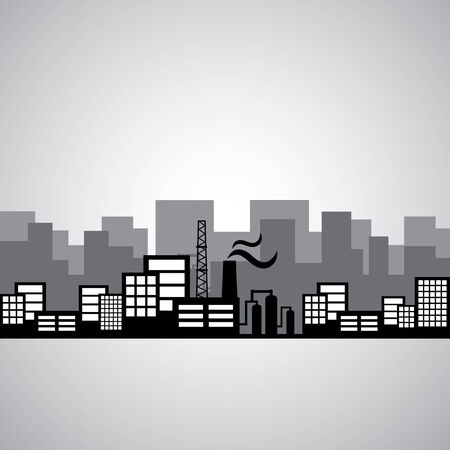 business environment: industrial factory and building vector icon  Illustration