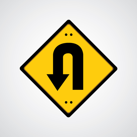 u turn:  Vector return symbol yellow road sign   Illustration