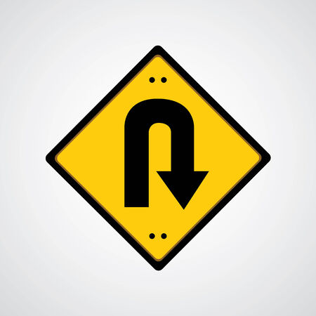 u turn:  Vector return symbol yellow road sign