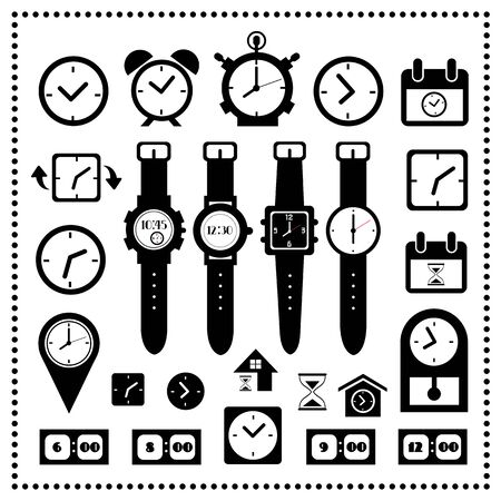 watch and time icons set on white background  Vector