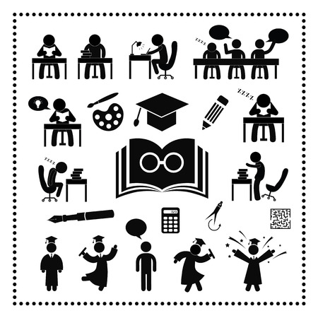 colleges: Exitosa s�mbolo estudio sobre fondo blanco Vectores