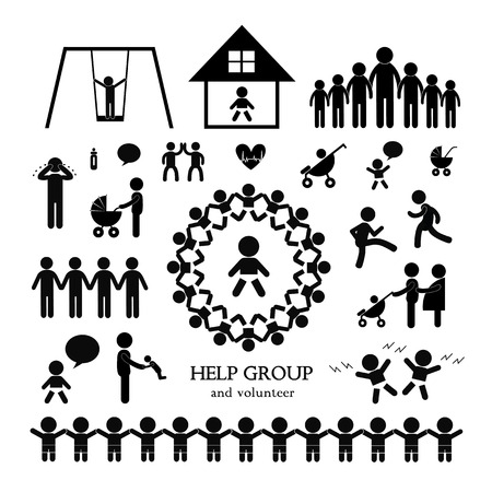 children action welfare stick figure icon  Vector