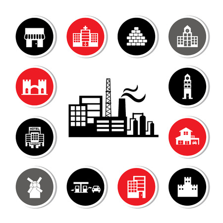 industrial factory and buildings vector icon set