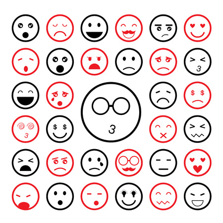 faces emoticon icons cartoon set    Vector