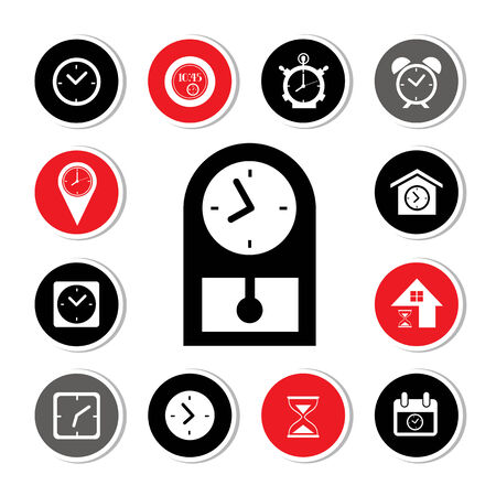 watch and time icons set button  Vector