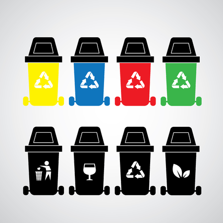 space rubbish: vector recycle bins symbol set