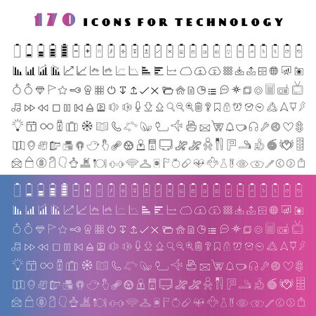 dimond: line technology vector icon set