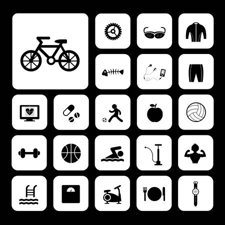 biking glove: sports and healthy vector icons set
