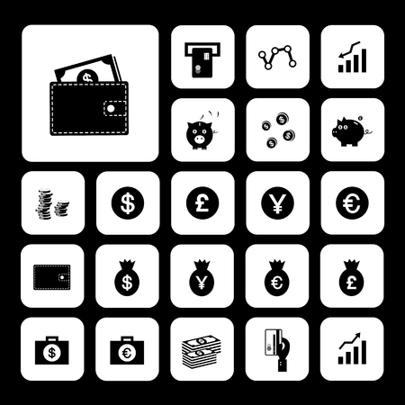 money and financial vector icon set  Иллюстрация