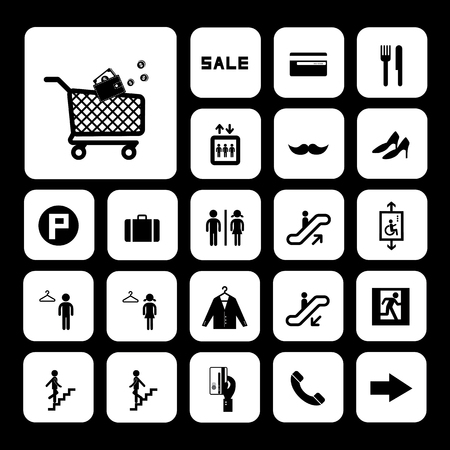 emerging markets: shopping mall vector icons set