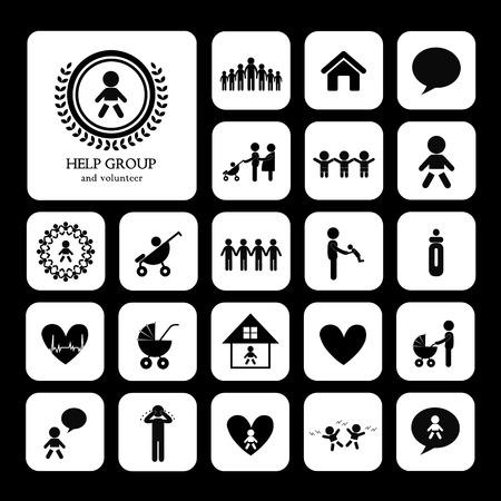 welfare: children action welfare stick figure icon