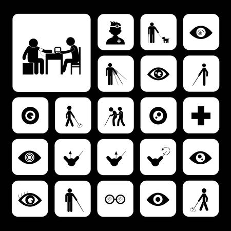 blind dog: blind man and hospital icon   Illustration