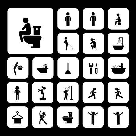 toilet and hygiene icons set