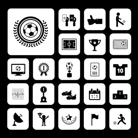 goal cage: champion football match vector icon set